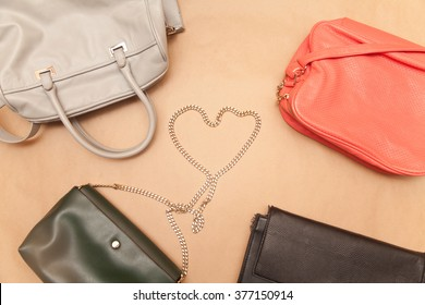Bags on a beige background