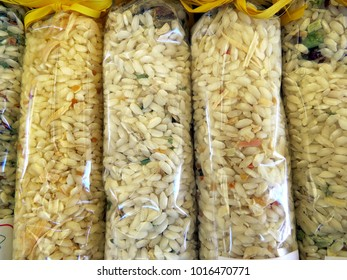 Bags of rice with spices and mushrooms for risotto