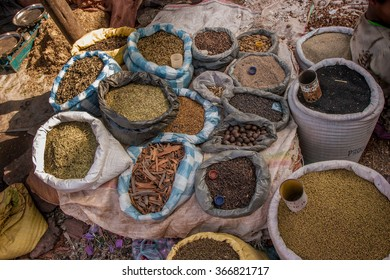 Bags and sacks of spices on an African market