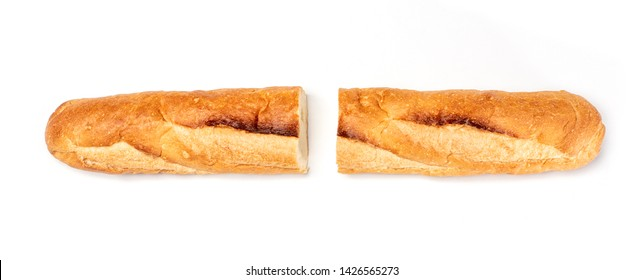 Baguette cut in half, Baguette bread, French bread, Organic baguette francese on white background, Top view