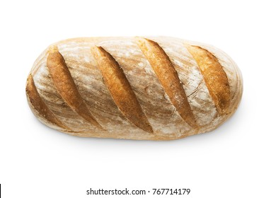 Baguette loaf isolated at white background. Fresh long loaf with golden crust, top view