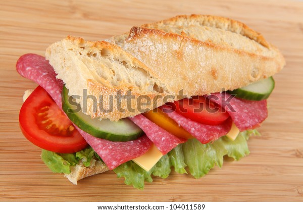 baguette with salami