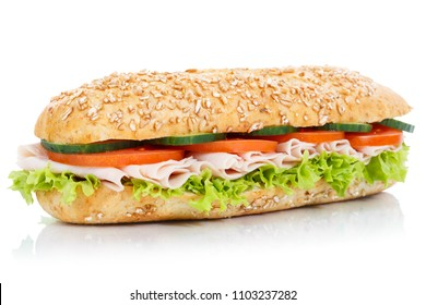 Baguette sub sandwich with ham whole grains grain fresh isolated on a white background