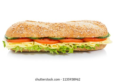 Baguette sub sandwich whole grains with cheese lateral isolated on a white background