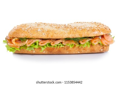 Baguette sub sandwich whole grains with salmon fish lateral isolated on a white background
