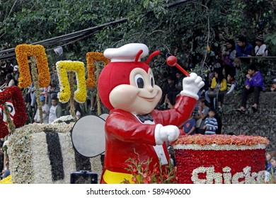 BAGUIO CITY, PHILIPPINES FEB. 26: Jollibee giant food chain in Panagbenga Festival on Feb. 26, 2017  in Baguio City Philippines. Showcasing floats made of fresh flowers celebrating the bloom months.
