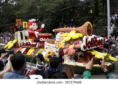 BAGUIO CITY, PHILIPPINES FEB. 26: Jollibee join the Grand Flower Float Parade in Panagbenga Festival on Feb. 26, 2017 in Baguio City Philippines. Celebrating the bloom months with street parade.