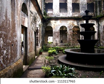 BAGUIO CITY, PHILIPPINES - JUNE 7, 2018: Interiors of the Dominican Hill Retreat House or the Diplomat Hotel, an abandoned structure, and now a famous tourist spot in Baguio City, Philippines.