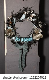 Bah Humbug wreath on a wall for a holiday decoration