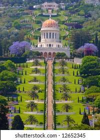 Bahai temple in Haifa. Best for small scale.