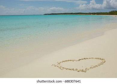Bahamas island with beautiful beach with white sand and heart
