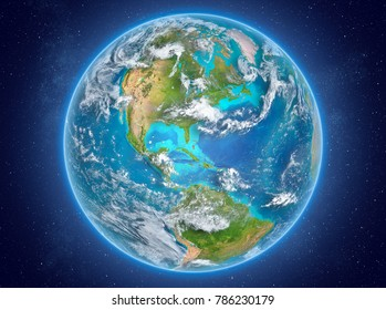 Bahamas in red on model of planet Earth with clouds and atmosphere in space. 3D illustration. Elements of this image furnished by NASA.