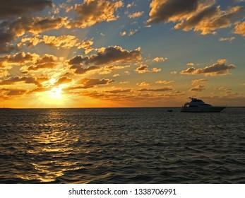 Bahamas sunset with yacht