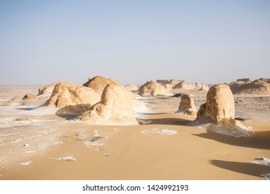 Bahariya national park egypt. Desert and stone formations. Surreal landscape. Scenic nature background. Sahara panorama landscape, africa nature. Rock formations.