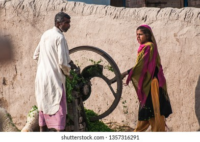 Bahawalpur, Punjab, Pakistan - March 26, 2019 A female is moving the grass cutting machine white her husband is feeding the grass to feed the cattle