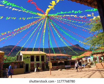 Caeté-Açu , Bahia Brazil- 24 of June, 2018: Main square in the Village of Capon Valley, decorated for traditional June Festivall.