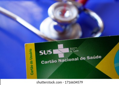 Bahia, Brazil - April 28, 2020. Translation: Brazilian Unified National Health System (SUS - Sistema Único de Saúde, in Portuguese)./ Coronavírus SUS card and stethoscope in the background. COVID-19.