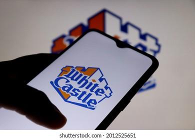 Bahia, Brazil - July 22, 2021: White Castle logo on smartphone screen. White Castle is an American regional hamburger restaurant chain