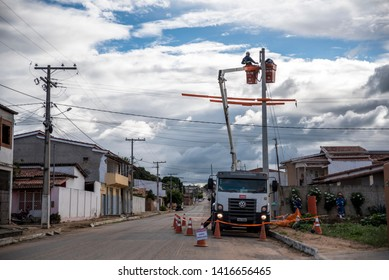 Serrolândia / Bahia / Brazil - June 05 2019: Men working in urban electrification