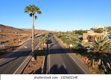 Bahia Feliz,Gran Canaria,02.03.2019.View of the two lane road 812,runs towards the airport of the island,serve the popular tourist resorts,near the GC-1 highway.