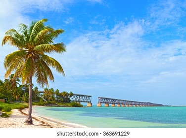 Bahia Honda state park, landmark Flagler bridge on a beautiful summer day, Florida Keys beautiful tropical nature