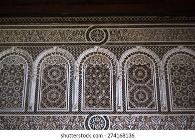 Bahia Palace, MARRAKECH, MOROCCO - April 13, 2105: Details on the fa�§ade.