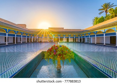 Bahia Palace, Marrakech, Morocco - November  09, 2017:   Courtyard at El Bahia Palace, Marrakech, Morocco