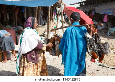 Bahir Dar, Ethiopia, February 14 2015: A woman buys on a market a chicken from a dealer