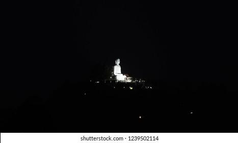 Bahirawakanda or Bahirawakanda Temple At Night. Bahirawakanda is a Biggest Samadhi Buddha Statue On The Top Of The Bahirawakanda Mountain in Kandy, Sri Lanka