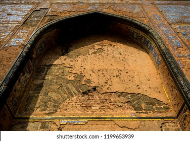 The Bahmani Tombs is a complex of huge domed tombs of the Bahmani kings in Ashtur, 3km east of Bidar. The image shows wall of one of the tombs depicting Islamic carvings and stucco work.