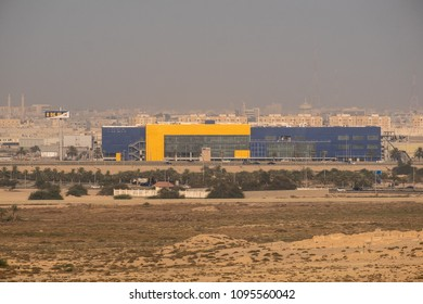 BAHRAIN - 20 MAY, 2018: The soon to be opened IKEA store stands in front of Hamad Town housing alongside a highway in Bahrain.