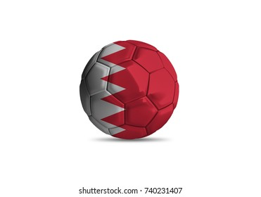 Bahrain ball Flag, High quality render of 3D football ball