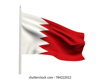 Bahrain flag floating in the wind with a White sky background. 3D illustration.