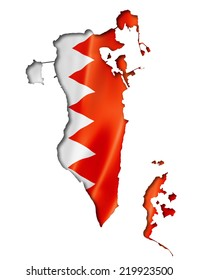 Bahrain flag map, three dimensional render, isolated on white