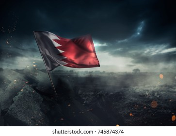 Bahrain flag standing with triumph after a disaster.