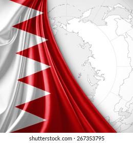 Bahrain flag and world map background