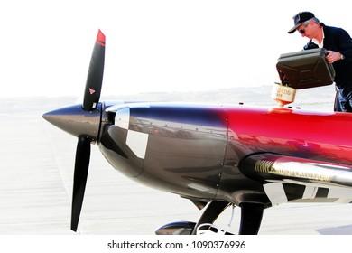 Bahrain International Air Show Stunts Performed Stock Photo