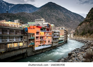 Bahrain is located at an elevation of 4700 ft on the right bank of the Swat river, Pakistan.