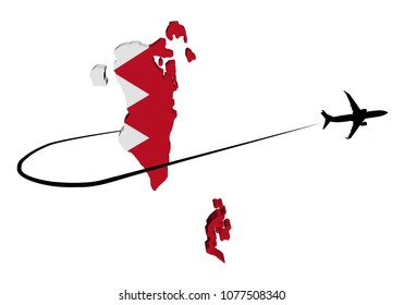 Bahrain map flag with plane silhouette and swoosh 3d illustration
