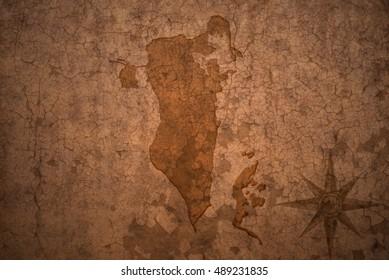 bahrain map on a old vintage crack paper background