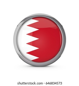 Bahrain national flag in a glossy circle shape with chrome frame. 3D Rendering