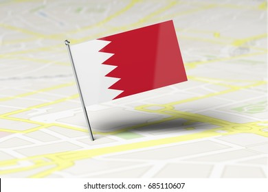 Bahrain national flag location pin stuck into a city road map. 3D Rendering
