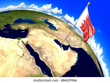Bahrain national flag marking the country location on world map. 3D rendering, parts of this image furnished by NASA
