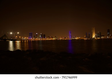 Bahrain at night, by the sea