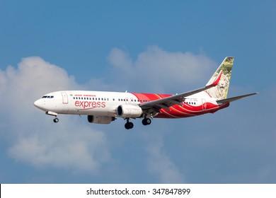 BAHRAIN - NOV 14: Air India Express Boeing 737-800 aircraft landing at the Bahrain International Airport. November 14, 2015 in Muharraq, Kingdom of Bahrain