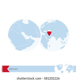 Bahrain on world globe with flag and regional map of Bahrain. Raster copy.