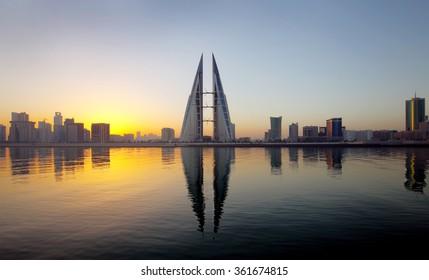 Bahrain Skyline during sunrise