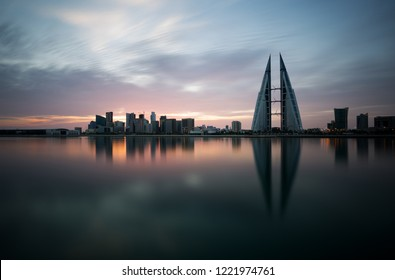 Bahrain skyline during sunrise, a long exposure image