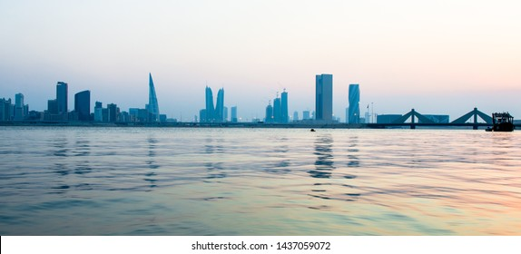 Bahrain Skyline in the evening time with still waters