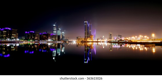 Bahrain skyline with Finacial Harbour building at night